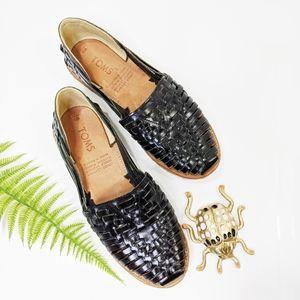 Tom's Boho Leather Huarache Woven Flats